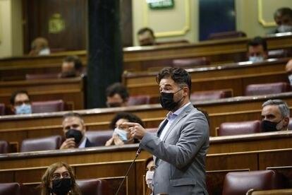 Gabriel Rufián, portavoz de ERC, el pasado miércoles en el Congreso de los Diputados.