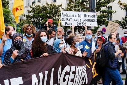 Manifestación de migrantes en París, este pasado 21 de agosto.