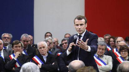 El presidente de Francia, Emmanuel Macron, durante un acto celebrado en Souillac, en el sur, para lanzar su iniciativa de debate nacional.