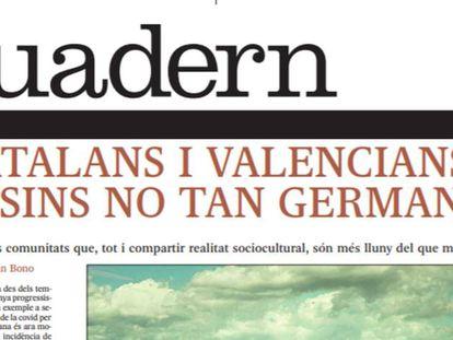 Portada del próximo número de 'Quadern', suplemento en catalán de EL PAÍS.