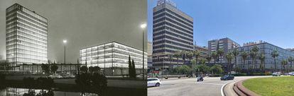 A la izquierda, una fotografía de Català-Roca de la época (la fase 1 del proyecto se construyó entre 1958 y 1959). A la derecha, la reforma que se hizo del conjunto en 1998.