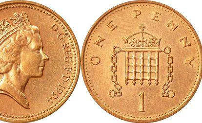 Cara y cruz de una moneda de un penique.