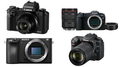 De izquierda a derecha y de arriba a abajo: Canon Digital PowerShot G5X, cuerpo de cámara Sony A6500 ilce-6500, Cuerpo EOS RP de Canon + objetivo RF 24-105mm f/4L IS USM + adaptador de montura EF-EOS y Nikon D7500.