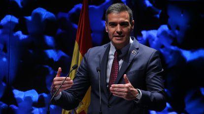 El presidente del Gobierno, Pedro Sánchez, este lunes en el IV Congreso Iberoamericano del Consejo Empresarial Alianza por Iberoamérica (Ceapi).
