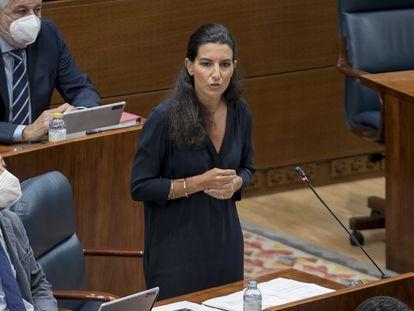 La portavoz de Vox en la Asamblea de Madrid, Rocío Monasterio, interviene en una sesión de control al Gobierno, el pasado 16 de septiembre.