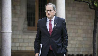 El 'president' Quim Torra, a su entrada a la reunión semanal del Consejo Ejecutivo del Govern.