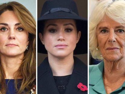 Kate Middleton, Meghan Markle y Camila de Cornualles.
