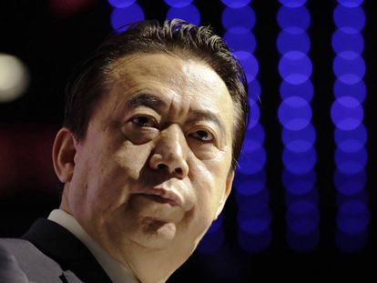 Meng Hongwei, en el Congreso Mundial de Interpol en Singapur, en julio de 2017.