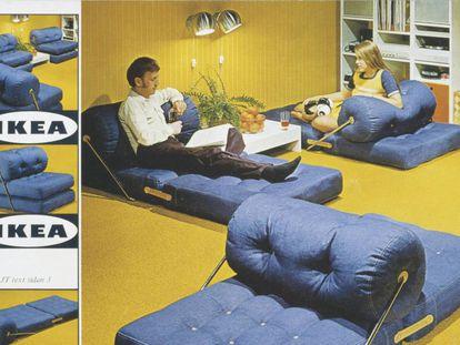 Imagen de un catálogo de Ikea de los años setenta, cuando la gente iba por casa vestida de calle y los muebles todos parecían, al menos, dos cosas.