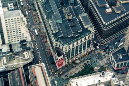 """Vista aérea de la """"esquina del millón de dólares""""."""