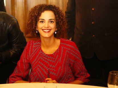La escritora Leïla Slimani, en el restaurante de París donde se entrega el Premio Goncourt.