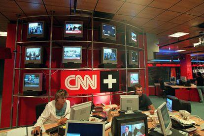 La Redacción central del canal de televisión CNN +.