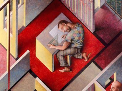 'Hombre dibujando', obra de Guillermo Pérez Villalta que forma parte de la exposición en la Sala Alcalá 31.