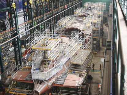 Construcción del submarino S-80 en los astilleros de Navantia en Cartagena.