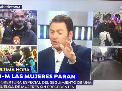 Albert Castillón presentando 'Espejo público' en Antena 3 en vez de Susanna Griso el 8 de marzo.