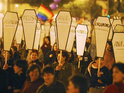 Una concentración contra la violencia doméstica realizada en Valencia.