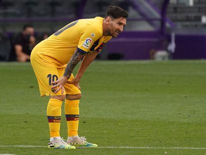 Lionel Messi, en el último partido del Barcelona ante el Valladolid.