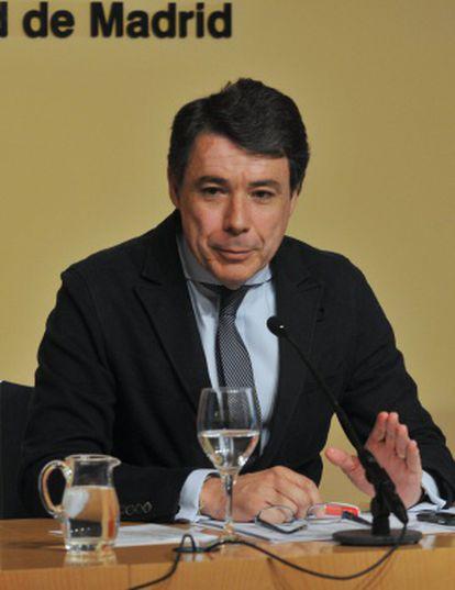 Ignacio González, durante la rueda de prensa.