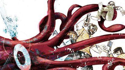 Una ilustración de '20.000 leguas de viaje submarino'