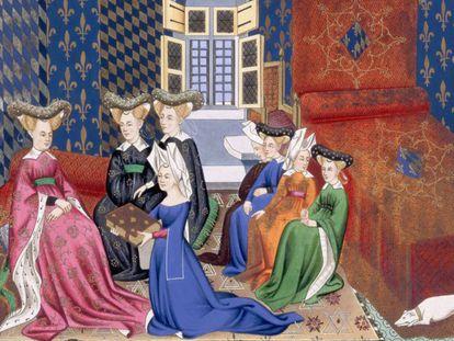 Un grupo de mujeres en una ilustración medieval.
