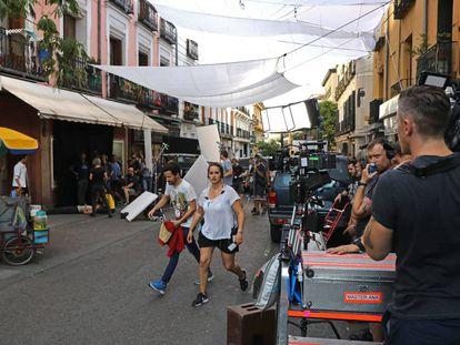 Rodaje de 'Terminator 6' en la calle Santa Isabel este miércoles.