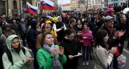 Manifestación el pasado abril en Bratislava tras la muerte del reportero Jan Kuciak.