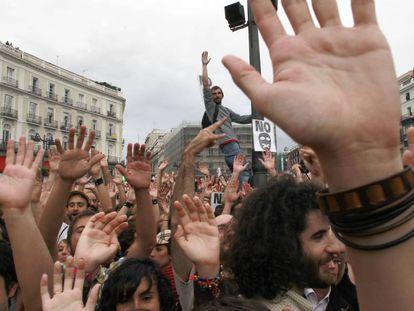 Movimiento 15-M en la Puerta del Sol de Madrid, en 2011.