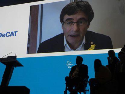 Puigdemont interviene en la clausura de la Asamblea del PDeCAT.