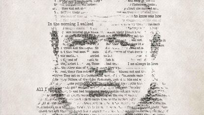 A promotional image of the documentary series 'Hemingway', with the writer's face drawn with some of the phrases he wrote.