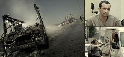 A la izquierda, un autobús quemado durante la ola de ataques organizada en São Paulo por el PCC en mayo de 2006. Murieron 560 personas en dos semanas. A la derecha, arriba, Marcos Williams Herbas Camacho, 'Marcola', el dirigente que simboliza la organización, en un juicio y, debajo, un policía encañona a un hombre durante los ataques de 2006. / MAURICIO LIMA (AFP) / ROBSON FERNANDJES (AFP)