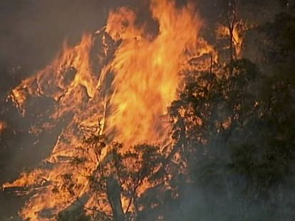 Imagen aérea del fuego en Bundoora, en el Estado de Victoria, este lunes.