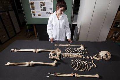 """El esqueleto del llamado """"Hombre de Cheddar""""."""