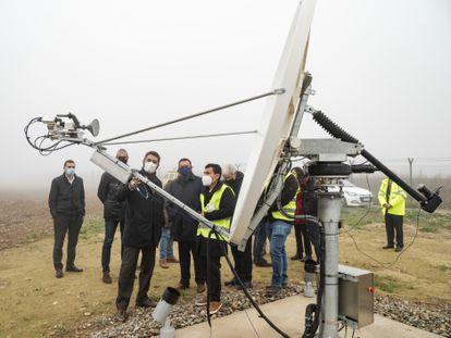 Presentación del proyecto aeroespacial, este viernes, en Alguaire.