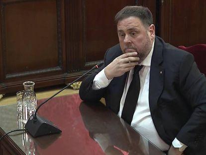 Oriol Junqueras, durante el juicio del 'procés'.