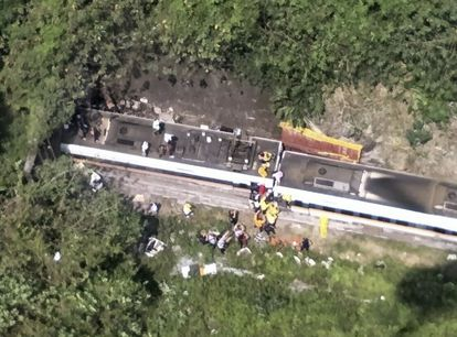 Aerial image of the crash site, provided to AP by the Taiwan National Fire Service.