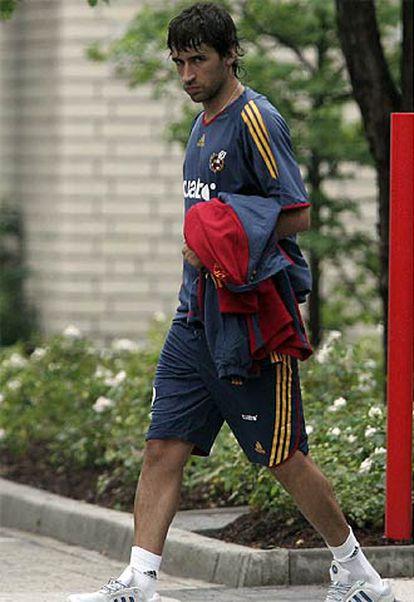 Raúl, tras el entrenamiento de ayer.
