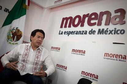 Mario Delgado, presidente de Morena, en un instante de la entrevista