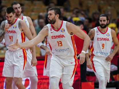 Marc Gasol, Ricky Rubio, Juancho Hernangómez y Víctor Claver con la selección española de baloncesto durante el Mundial de China.