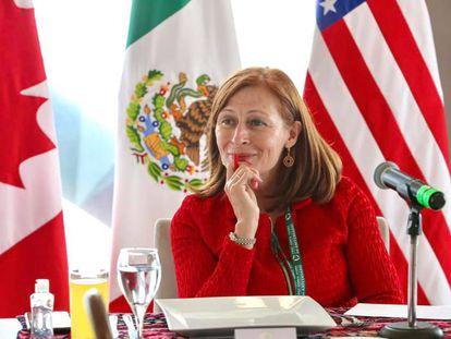 La secretaria de Economía, Tatiana Clouthier, en una reunión en el marco del primer aniversario del T-MEC, el 7 de julio, en Ciudad de México.