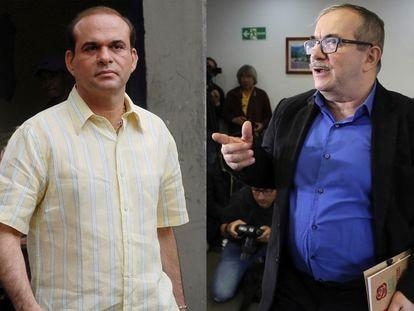 Salvatore Mancuso, a la izquierda, en una foto de 2007 y Rodrigo Londoño durante un evento en Bogotá en 2019.