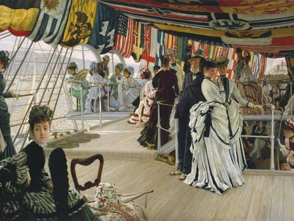 'Baile a bordo' (1874), de Tissot, uan de las obras expuestas en la muestra.