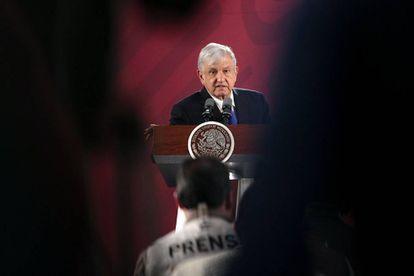 López Obrador durante el discurso de la mañana.