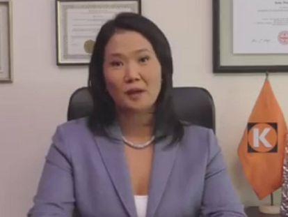 Fotograma de un video en el que Fujimori rechaza lo publicado por 'El Comercio'.