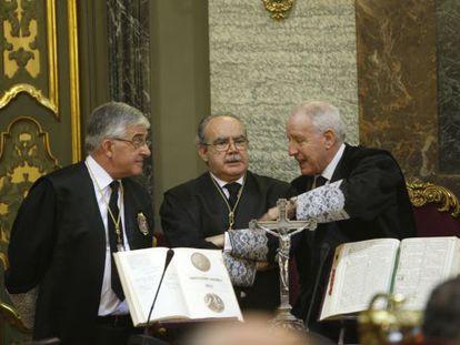 Los magistrados Gonzalo Moliner, Juan Saavedra y Ramón Trillo.