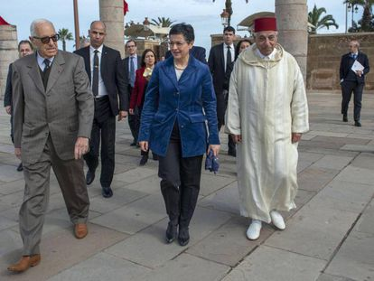La ministra de Exteriores, Arancha González, durante su visita a Rabat este viernes.