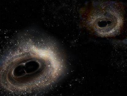Representación de fusiones de agujeros negros.