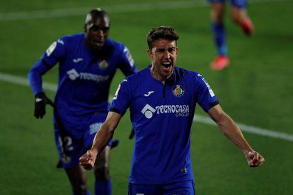 Jaime Mata celebra su gol, el segundo del Getafe, este sábado ante el Valencia en el Coliseo Alfonso Pérez.