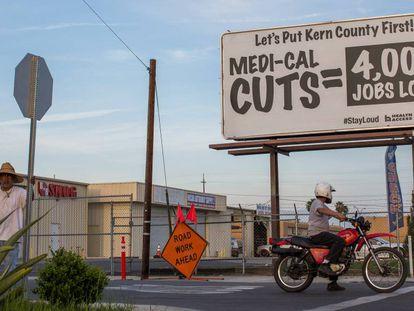Cartel contra los recortes sanitarios.