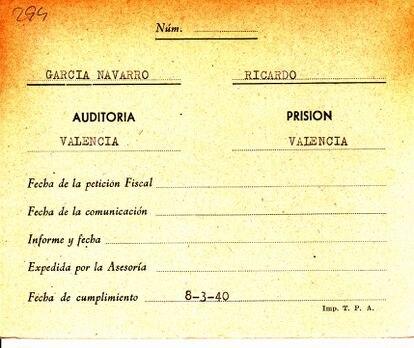 El nombre de Ricardo García Navarro es uno de los que figura en el Fichero de Penados, donde se refleja también la fecha de su fusilamiento.