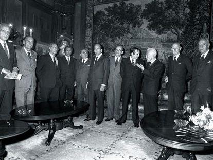 Bienvenida de los siete grandes a Emilio Botín (Santander) y Pedro Toledo (Banco Vizcaya), en 1987.